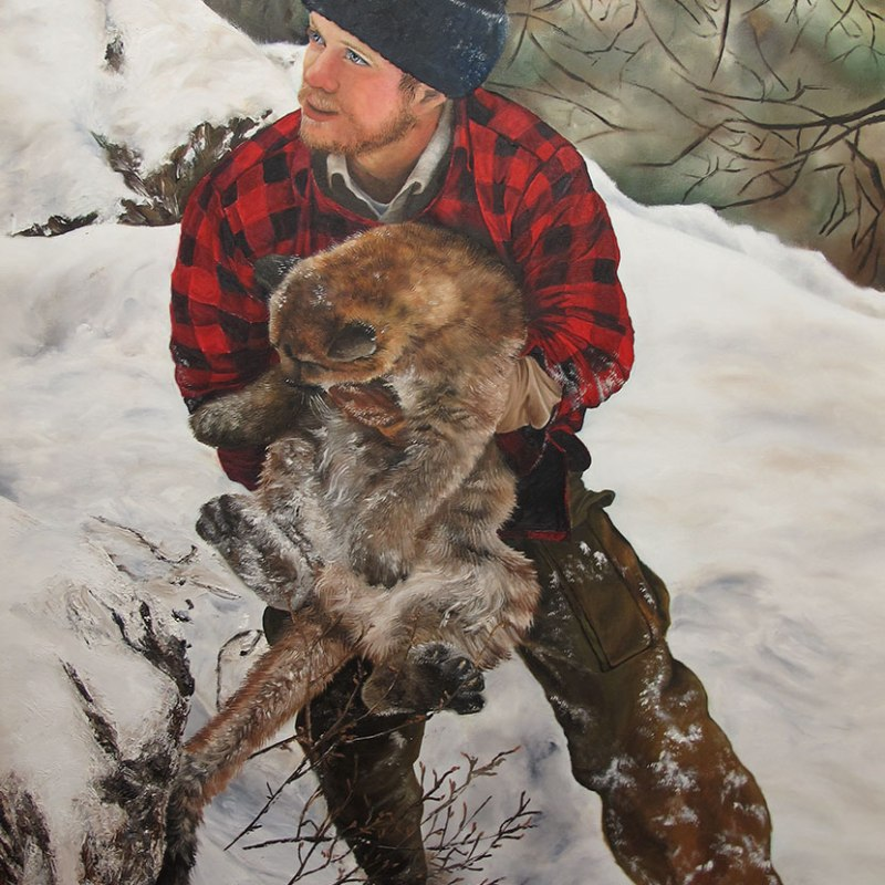 Mountain Lion Oil Painting - In Good Hands